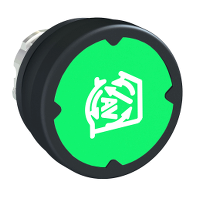 pushbutton head for harsh environment - green - with marking-legend rotated 90°