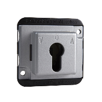 Roller shut. push-button insert f. cyl. locks, 2-pole, aluminium, Anti-vandalism
