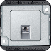 RJ45 telephone connector insert, aluminium, Anti-vandalism
